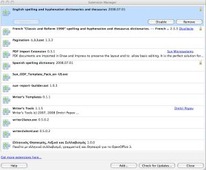 openoffice extension manager